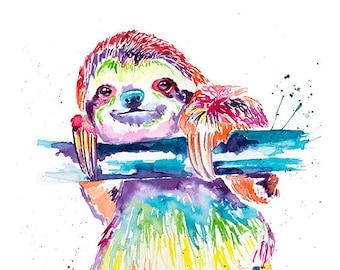 Colorful Sloth Art Print, Sloth Art, Sloth Watercolor, Watercolor Sloth, Slothlove. Sloth Gift