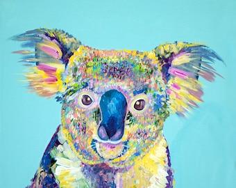 Colorful Koala Bear Geometrical Triangle Retro Style print