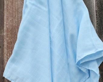 47x47 Baby Blue 100% Bamboo Double Gauze Swaddling Blanket Bamboo Swaddle, Bamboo Swaddle, Blue Swaddle, Swaddle Blanket