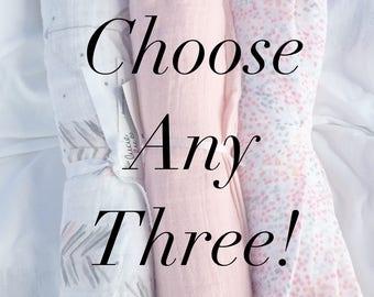 Choose Any Three! 47x47 100% Cotton Muslin/Double Gauze Swaddling Blanket, Bamboo Swaddling Blanket, Swaddle Blanket