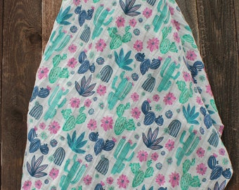 47x47 Midnight Cactus Muslin/Double Gauze Swaddling Blanket