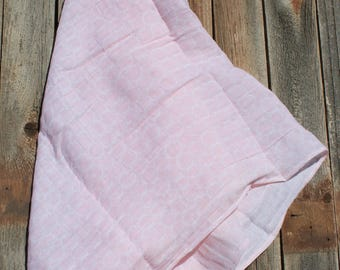 47x47 Baby Pink and White Rings Muslin/Double Gauze Swaddling Blanket, Baby Pink Swaddle, Swaddle Blanket, Pink Swaddle, Light Pink Swaddle