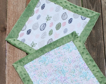 Minky and Muslin Lovey, Baby Security Blanket, Baby Lovey, Soft Blanket, Security Blanket, Minky Blanket, Small Baby Blanket, Teal Lovey