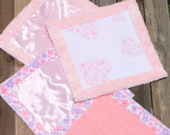 Minky and Muslin Lovey, Baby Security Blanket, Baby Lovey, Soft Blanket, Security Blanket, Minky Blanket, Small Baby Blanket, Pink Lovey
