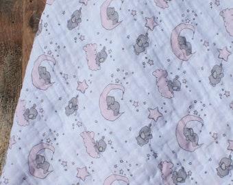 47x47 Pink Elephants Muslin/Double Gauze Swaddling Blanket, Elephant Swaddle, Girl Swaddle, Swaddle Blanket, Pink Elephant Swaddle