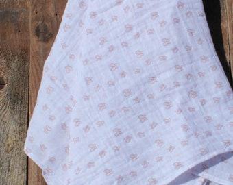 47x47 Pink Butterfly Muslin/Double Gauze Swaddling Blanket, Swaddle Blanket, Butterfly Swaddle, Girl Swaddle
