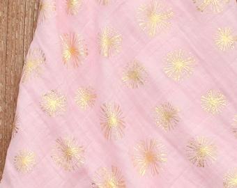 47x47 Pink & Metallic Gold Dandelion Muslin/Double Gauze Swaddle Blanket, Swaddle Blanket, Gold Swaddle, Dandelion Swaddle, Pink Swaddle
