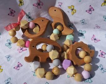 Wooden Teether Toy Baby Teething Ring Silicone Bead Teether Wood and Silicone Organic Teether Infant Teething Ring Baby Sensory Toy