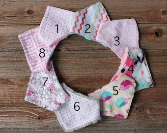 Pick 1, 3, or 5! Preemie/newborn size Bandana Bib, Baby Bibs, Baby Drool Bib, Baby Bibs Girl, Bandana Drool Bib, Dribble Bib