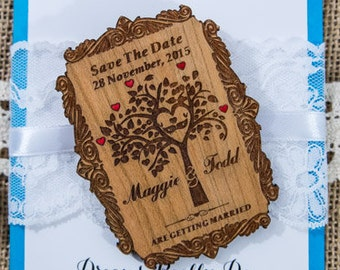 tree of life wood save the date magnet, engraved save the date,  save the date wedding magnets, tree save the date, custom save the dates
