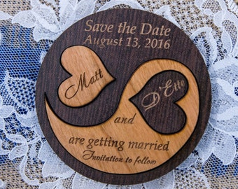 Wooden save the date magnets, Custom save the date magnet rustic, simple save the date woodland invitation yin yang