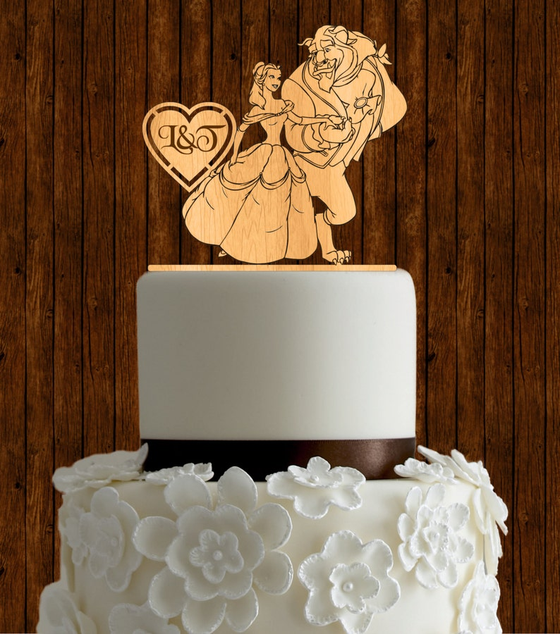 Beauty And The Beast Wedding Cake.Beauty And The Beast Wedding Cake Topper Wood Wedding Cake Topper Initial Cake Topper Monogram Cake Topper Custom Cake Topper