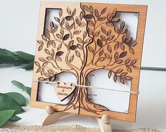 Rustic wedding invitations , Unique wedding card, Wood wedding invitation, laser cut wedding invitation wooden tree, for outdoor wedding