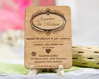 Wood Wedding Cards Set of 20, Unique Wedding Card, Rustic Wedding Card, Movable Wedding Card, Custom Wedding Card, Announcement Wedding Card