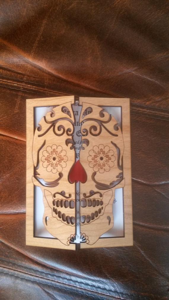 Sugar skull wedding invitation 100/ wood wedding invitation/   Etsy