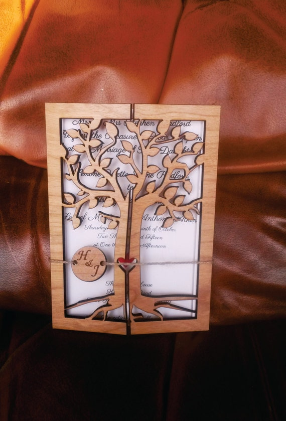 Kirsche Holz Graviert Hochzeit Einladung Rustikalen Etsy