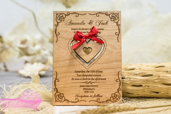 Laser Cut Hochzeitseinladung Gravierte Holz Etsy
