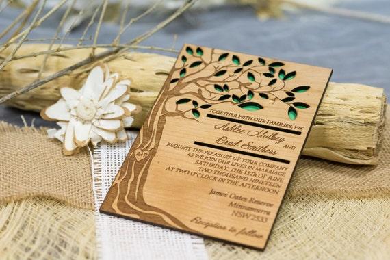 Baum Hochzeitseinladung Holz Wald Einladung Etsy