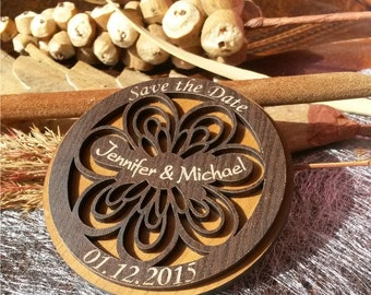 Wood Save-The-Date Magnets,  Personalized wedding magnets, Handmade Save the Date, rustic save the date magnet, carved save the dates