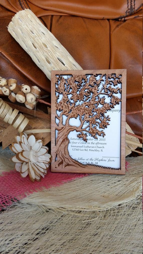 Baum Des Lebens Hochzeitseinladung Holz Hochzeitseinladung Etsy