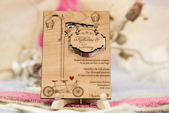Satz Von 40 Tandem Hochzeitseinladungen Holz Hochzeit Etsy