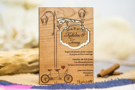 Einladungskarten Tandem Holz Einladungskarten Karte Zur Etsy