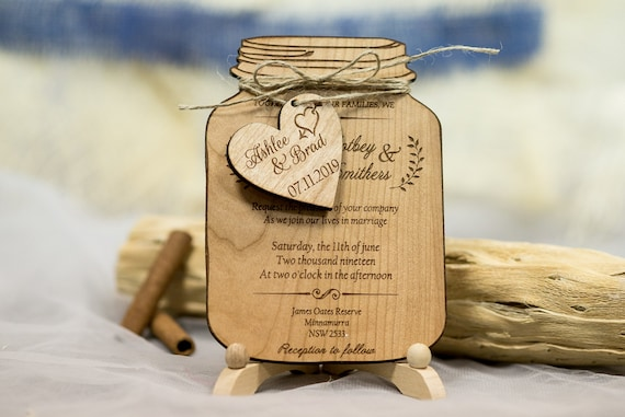 Real Wood Wedding Invitation Mason Jar Mason Jar Wedding Invitations Rustic Wedding Invitation Suite Set Of 10 Laser Cut Invitation