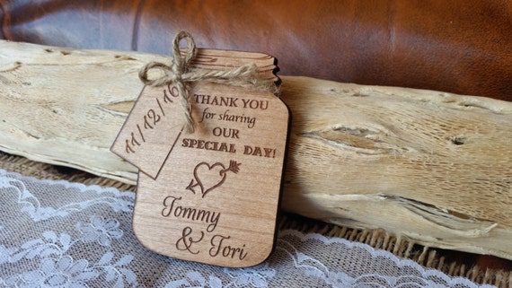 Wooden Mason Jar Thank You Card Magnet Rustic Thank You Cards Etsy