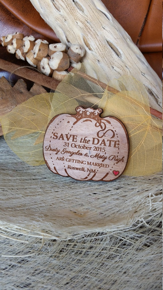 Autumn Save The Date Pumpkin Wood Save The Date Magnet Etsy