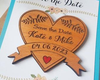 Wooden Rustic save-the-date magnet, custom save the date woodland, hawaiian heart save the date invitation, unique fridge magnet