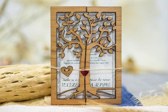 Houten Bruiloft Kaart Rustieke Bruiloft Uitnodiging 10 Gegraveerde Bruiloft Kaart Handgemaakte Kaart Bruiloft Laser Gesneden Uitnodigingen Unieke