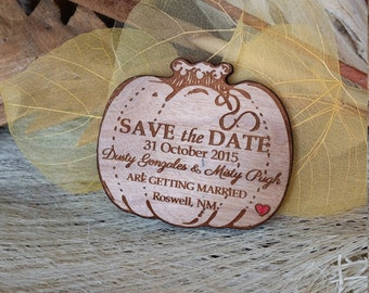 Autumn save the date pumpkin, wood save the date magnet, wooden wedding favor magnet, custom save the date invitation halloween