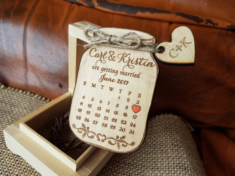 Wooden Save-the-Date Magnet Calendar Mason Jar Save The Date image 0