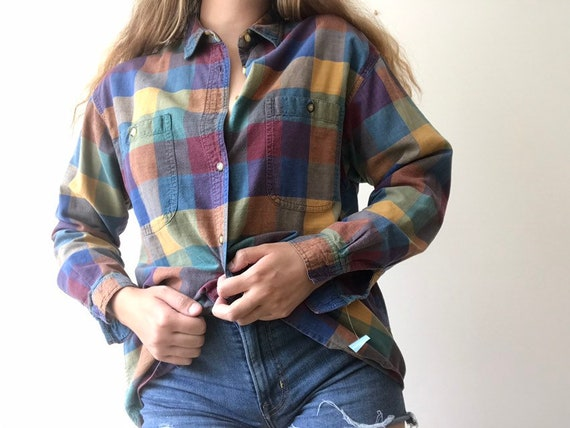 1990's Checkered Multicolored Flannel