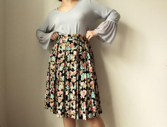 1980's Floral Print Black Skirt