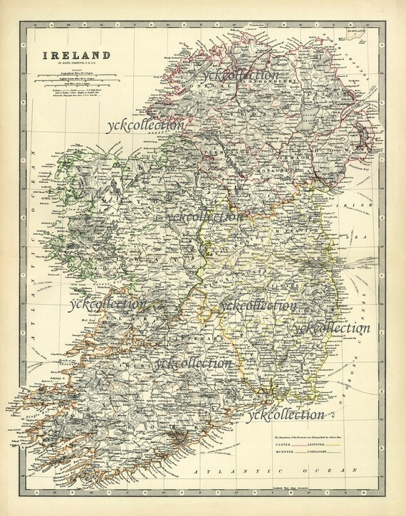 """Antique Ireland Map (1878) Ultra High Resolution 8"""" x 10"""" to 36"""" x 46""""  instant digital download"""