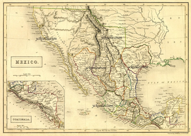 Antique Mexico Map 1840 Ultra High Resolution 8 X 10 To Etsy