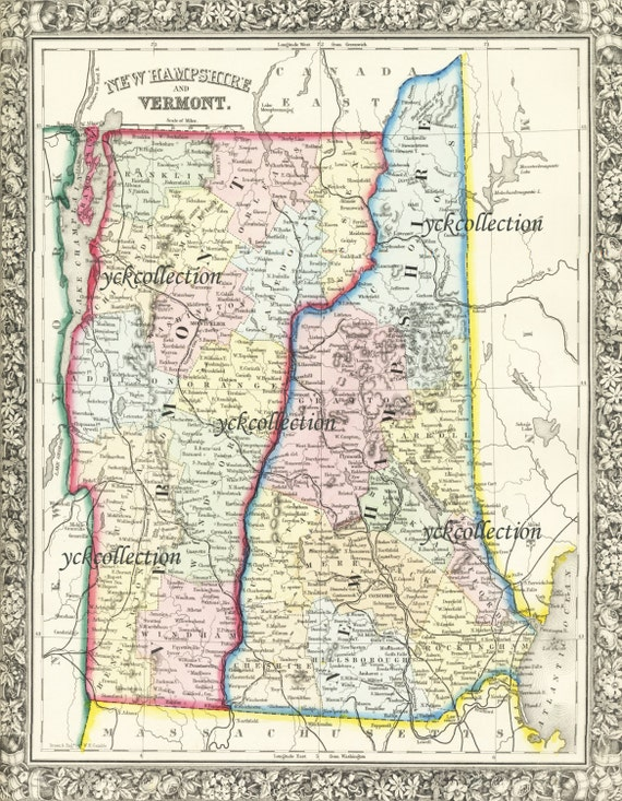 Antique Map Of New Hampshire And Vermont 8 X 10 To 28 X 36 Pixels Vintage 1863 Map In Ultra High Resolution Instant Digital Download