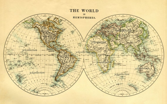 Antique world map in hemispheres vintage 1887 map 85 x 14 gumiabroncs Image collections