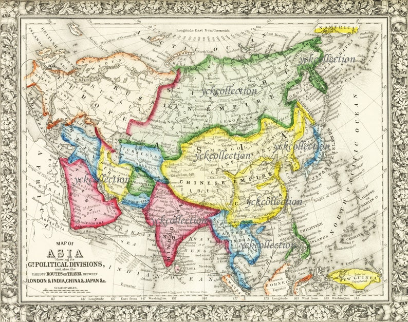 Map Of Asia High Resolution.Antique Map Of Asia 8 X 10 To 32 X 40 Pixels Vintage Etsy