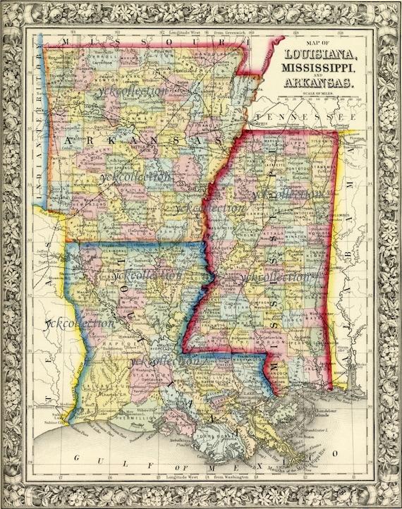 Arkansas And Louisiana Map.Antique Map Of Louisiana Mississippi And Arkansas 1863 8 X Etsy