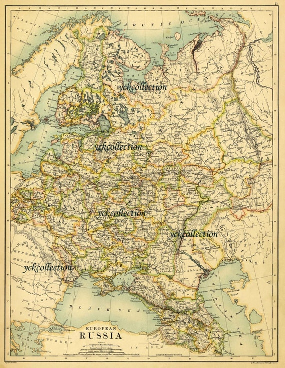 Antique European Russia Map 1887 Ultra High Resolution 8 X Etsy