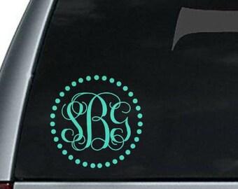 Circle Dot Monogram Decal Sticker || Polka Dot Monogram Car Decal Sticker, Vinyl Monogram Car Decal