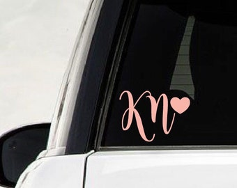 Monogram Car Decal || Two Letter Monogram, Two Initial Decal, Laptop Monogram, Yeti Cup Decal, Monogram Decal, Personalized car Decal