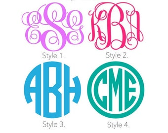 FLASH SALE - Monogram Decal Sticker, Car Monogram Decal, Tumbler Cup Monogram Decal, Vinyl Monogram Decal, Yeti Cup Monogram Decal, Initials