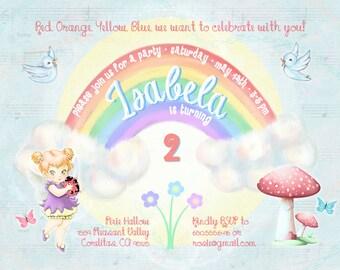 Rainbow whimsical pastel birthday invitation 5x7 rainbow fairy garden whimsical pastel birthday invitation and thank you card 5x7 digital printable files 1st 2nd 3rd birthday etc stopboris Choice Image