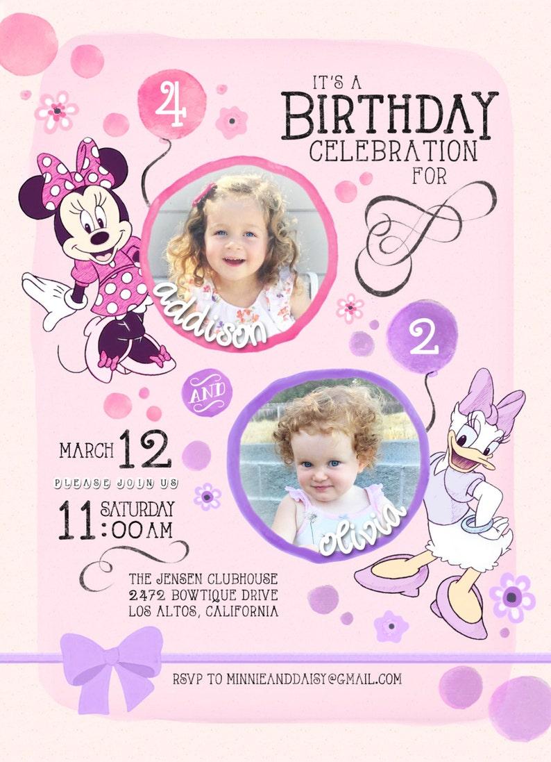 Minnie Mouse Daisy Duck Birthday Invitation Twins