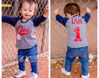 1st Birthday Baseball Shirt Cake Smash Boys Themed Party Sports Vintage