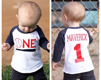 Boys 1st Birthday Baseball Shirt Cake Smash Themed Party Sports Vintage
