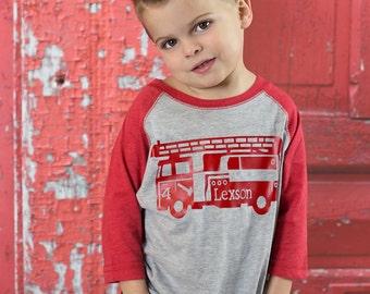 Boys Birthday Firetruck Party Shirt